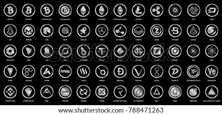 Vector digital currencies silver logo signs on black background