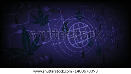 vector digital global technology concept.Marijuana medicine background. Stock photo ©