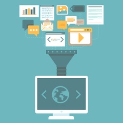 Vector digital marketing concept in flat style - uploading and publishing articles and information