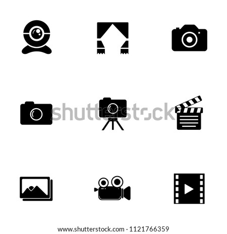 vector digital photography sign symbols. digital equipment icons set - video film interface