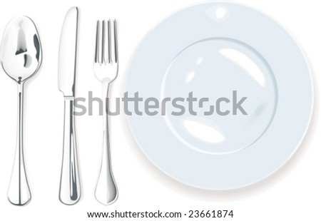 Vector. Dinner-plate, spoon fork and knife
