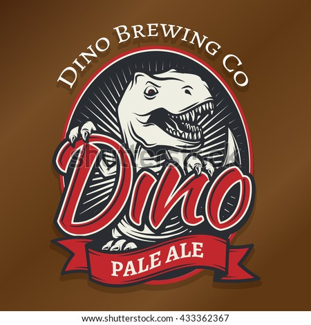 vector dino craft beer logo
