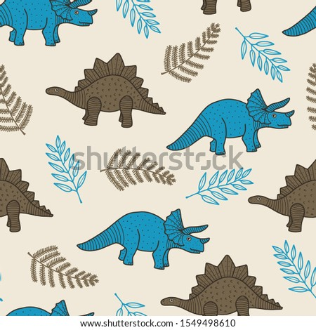 vector dino seamless pattern in