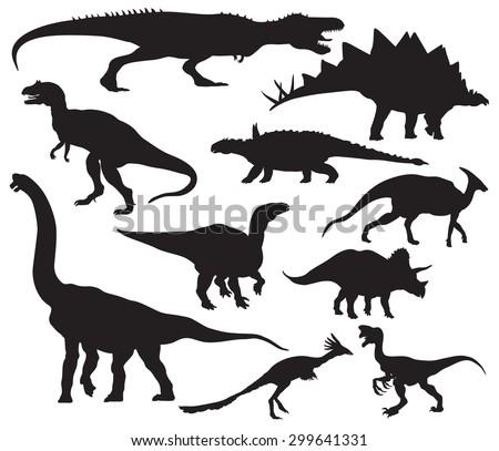 vector dinosaur silhouettes