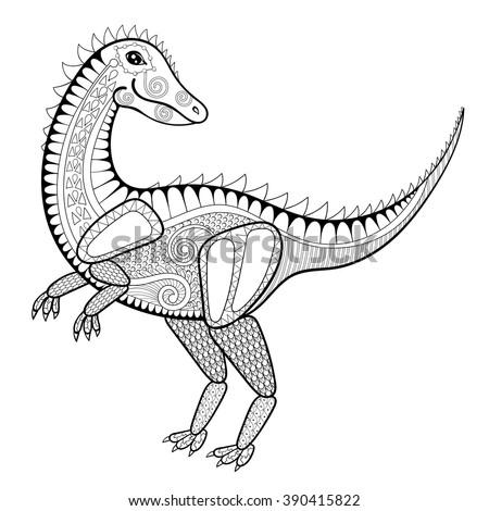vector dinosaur  zentangle