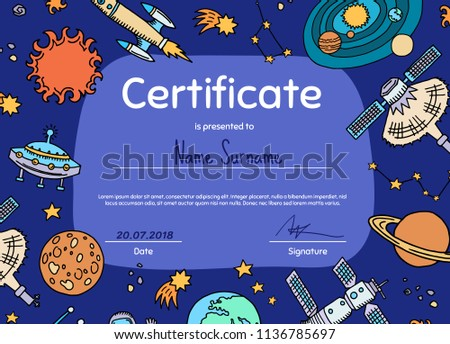 Vector diploma or certificate for children with hand drawn space elements planets and rocket illustration