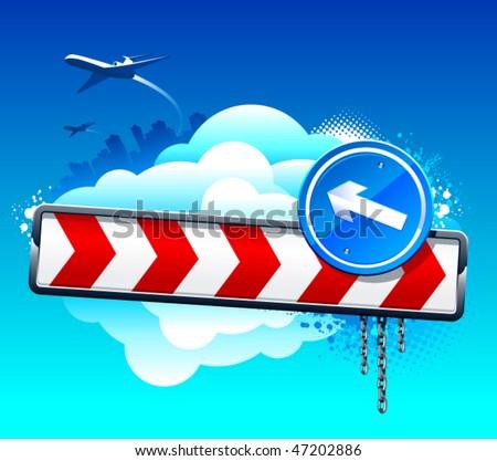 Vector Direction Arrow Sign On Blue Sky. - 47202886 ...