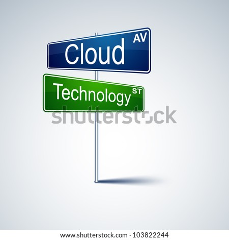Vector direction road sign with cloud technology words.