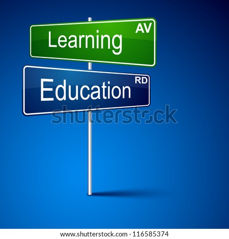 Vector direction road sign with Learning education words. - stock vector