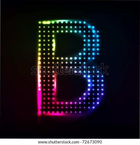 Vector Disco alphabet. Letter B