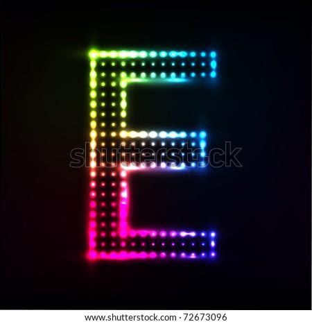 Vector Disco alphabet. Letter E