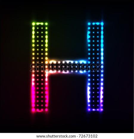 Vector Disco alphabet. Letter H