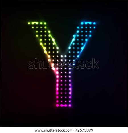 Vector Disco alphabet. Letter Y