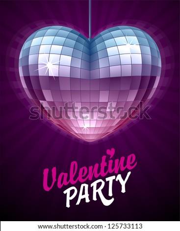 Vector Disco Heart. Mirror Disco Ball In The Shape Of ...