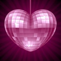 Vector Disco Heart. Purple mirror disco ball in the shape of heart
