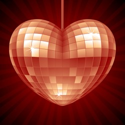 Vector Disco Heart. Red mirror disco ball in the shape of heart