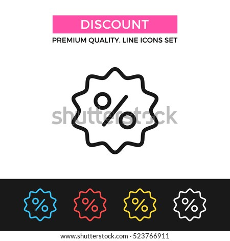 Vector discount icon. Shopping sale, clearance concept. Premium quality graphic design. Signs, outline symbols collection, simple thin line icons set for websites, web design, mobile app, infographics