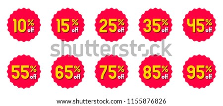 Vector discount label. Special promotion offer sale tag. Red rosette star badge sticker symbol with yellow price discount informer.
