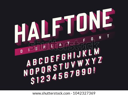 Vector display font design with halftone shadow, alphabet, character set, typeface, typography, letters and numbers. Swatch color control.
