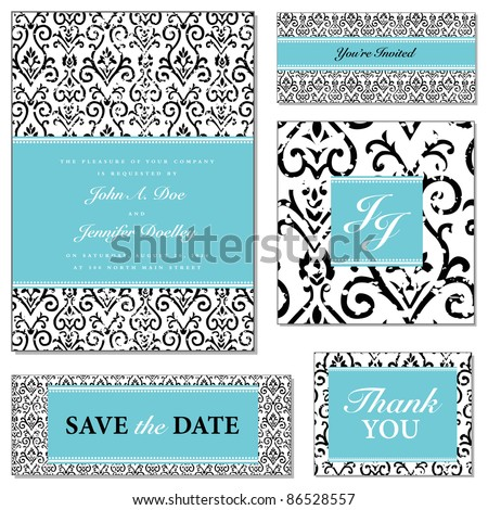 Vector Distressed Floral Wedding Frame Set. Easy to edit. Perfect for invitations or announcements.
