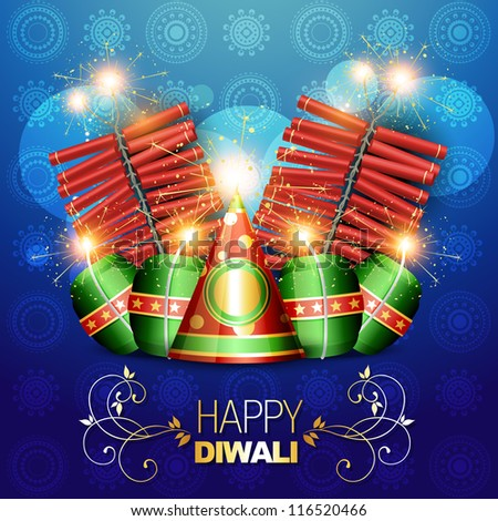 vector diwali crackers background illustration