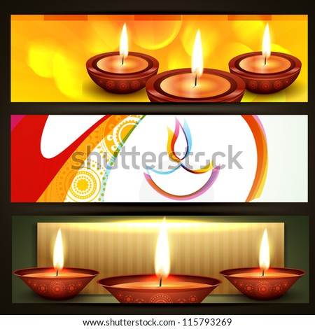 vector diwali crackers headers set - stock vector
