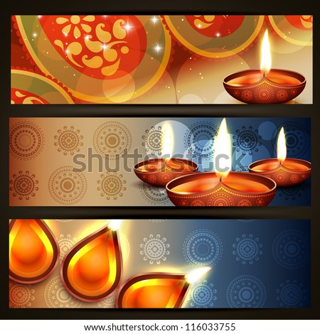 vector diwali crackers headers set