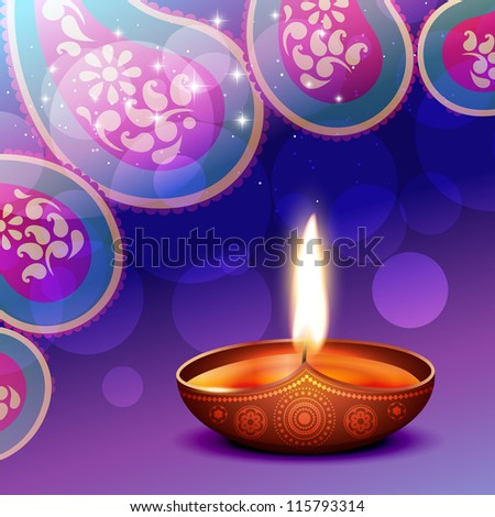 vector diwali diya background illustration - stock vector