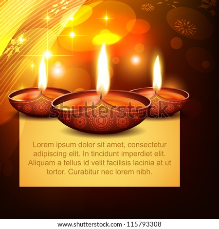 vector diwali diya on stylish background