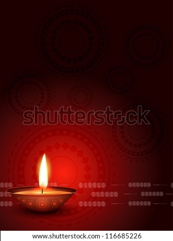 vector diwali diya with space for your text - stock vector