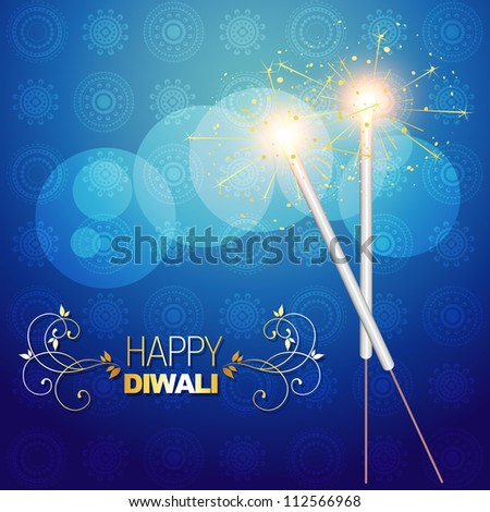 vector diwali festival crackers on artistic vector background - stock vector