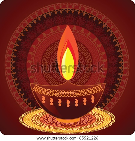Vector Diwali Oil Lamp with Mandala Design - Very Detailed and easily editable