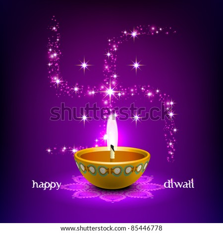 Vector Diwali Oil Lamp with Swastica Background - stock vector