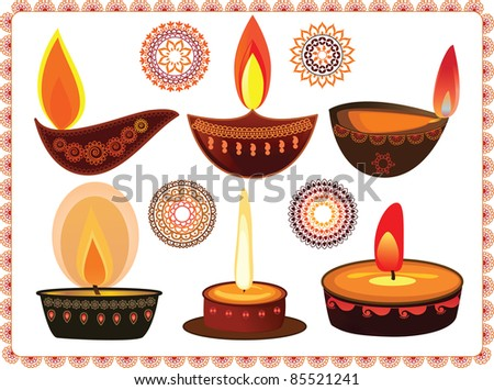 Vector Diwali Oil Lamps with Mandala Design - Very Detailed and easily editable