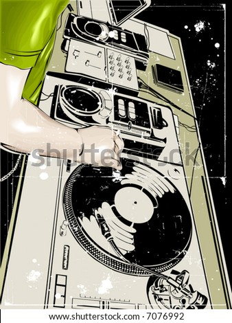 vector dj club dance party background illustration