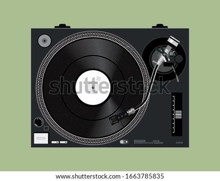 vector dj vinyl player vinyl