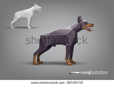 Vector doberman stylized triangle polygonal model