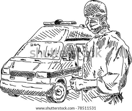 Ambulance Car Drawing Doctor With Ambulance Car