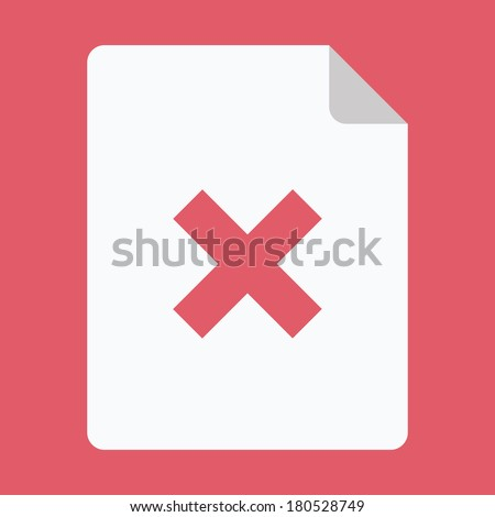 Vector Document and Cross Icon