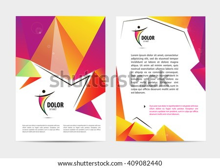 Vector document, letter or logo style cover brochure and letterhead template design mockup set for business presentations, man, human, leadership,sport. Flyer, modern faceted design with logo
