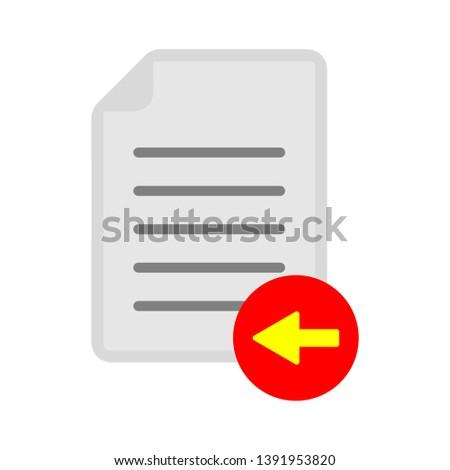 vector document with back arrow sign