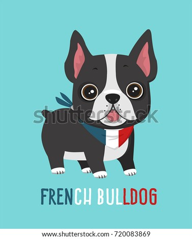 Vector Dog breed French Bulldog. Image Puppy in a bandage in the colors of the French flag. Illustration cartoon dog puppy french bulldog in flat style