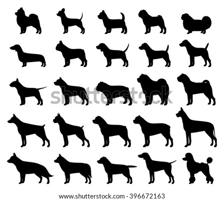 vector dog breeds silhouettes