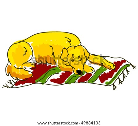 vector dog sleeping