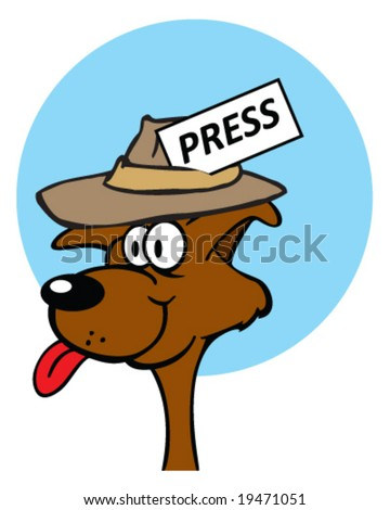 vector dog wearing reporter hat with press card