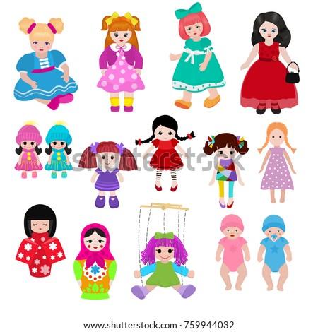 vector doll toy cute girl