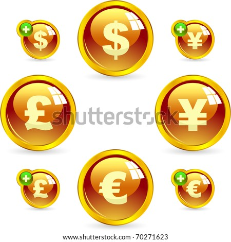 Vector dollar, euro, yen and pound icons.