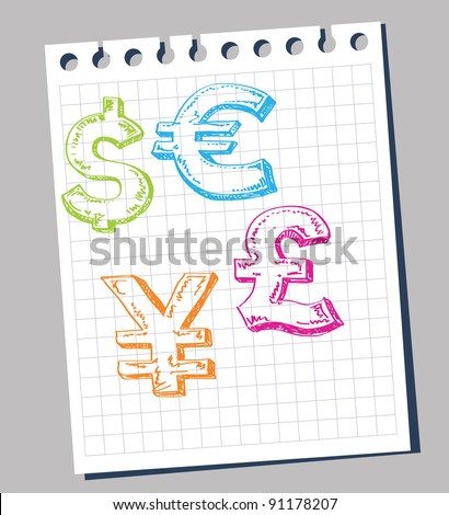 Vector dollar, euro, yen and pound signs.