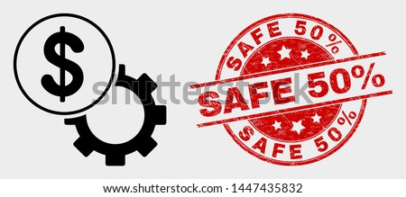 Vector dollar setup gear pictogram and Safe 50% seal stamp. Red round grunge seal stamp with Safe 50% text. Vector composition for dollar setup gear in flat style.