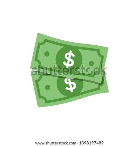 Vector Dollar sign, two money dollar icon, dollar bill symbol